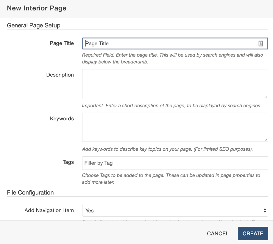 A screenshot of the fields a user fills out when creating a new page, such as page title, description, keywords, and file name.
