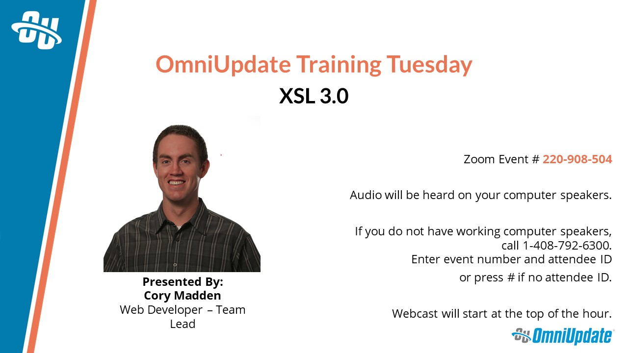 The title slide for March Training Tuesday - XSL 3.0