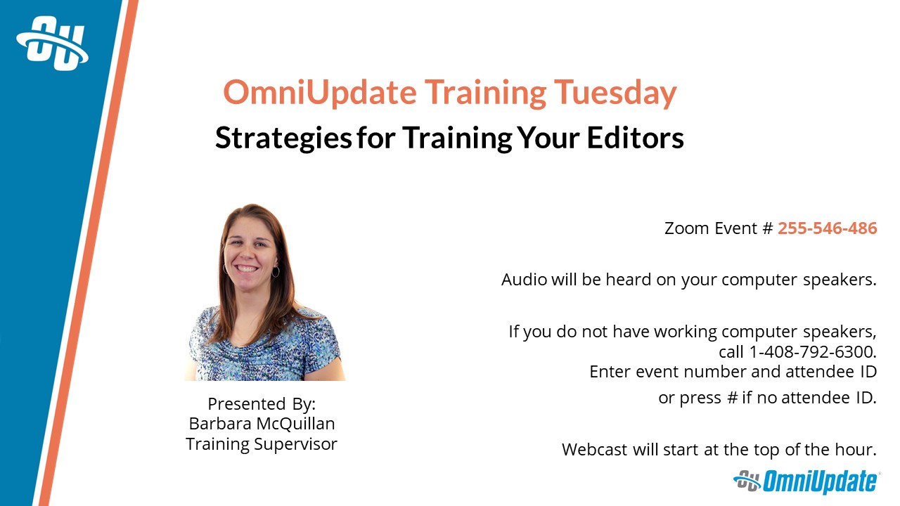 "A PPT title slide for a presentation titled ""Strategies for Training Your Editors"""
