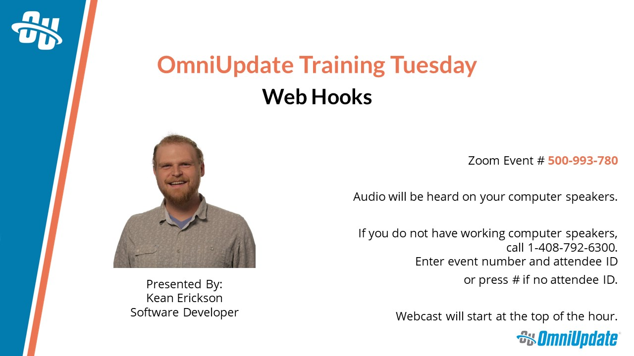 "The title slide for a presentation titled ""OmniUpdate Training Tuesday: Web Hooks"""