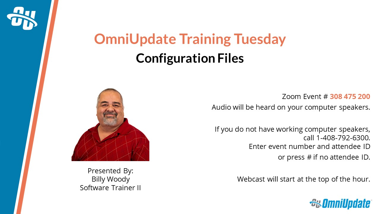 The title slide for May Training Tuesday - Configuration Files.
