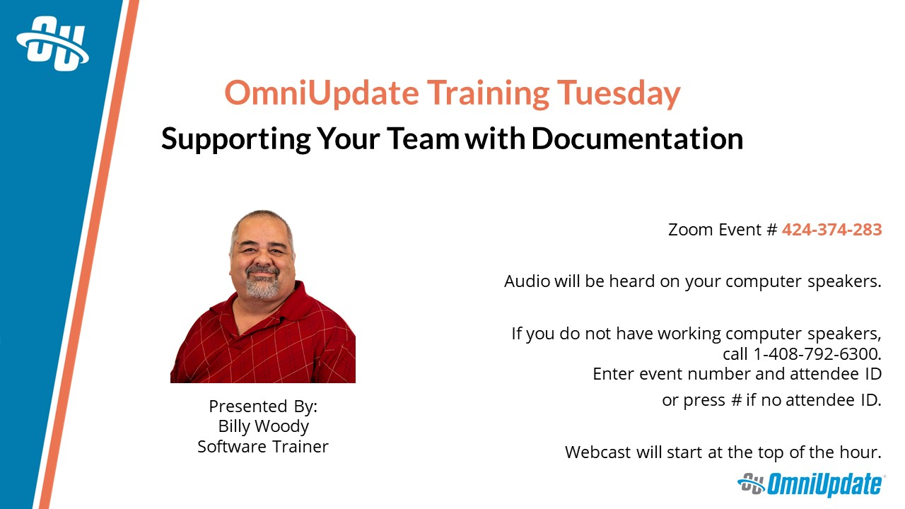 The title slide for OmniUpdate Training Tuesday